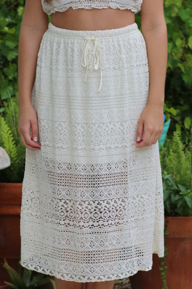 Wild Souls - Ivory Lace Crop Top and Midi Skirt Set - shopwildsouls.com