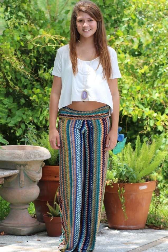 Wild Souls: Mermaid City Palazzo Pants, Perfect Crop Top, & Gold-plated Agate Necklace
