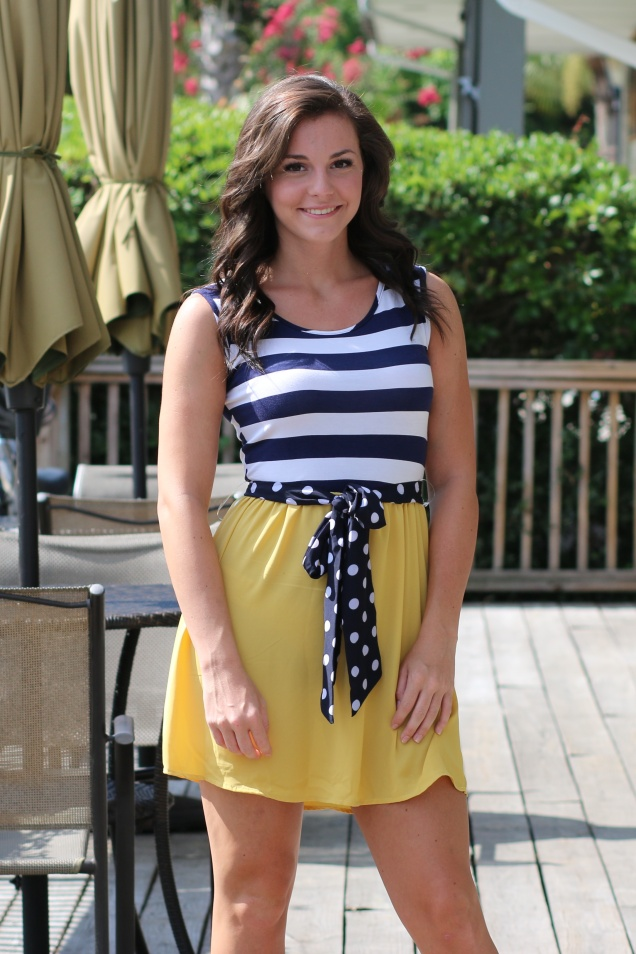 Navy Stripe and Mustard Dress with Polka Dot Tie Belt - shopwildsouls.com