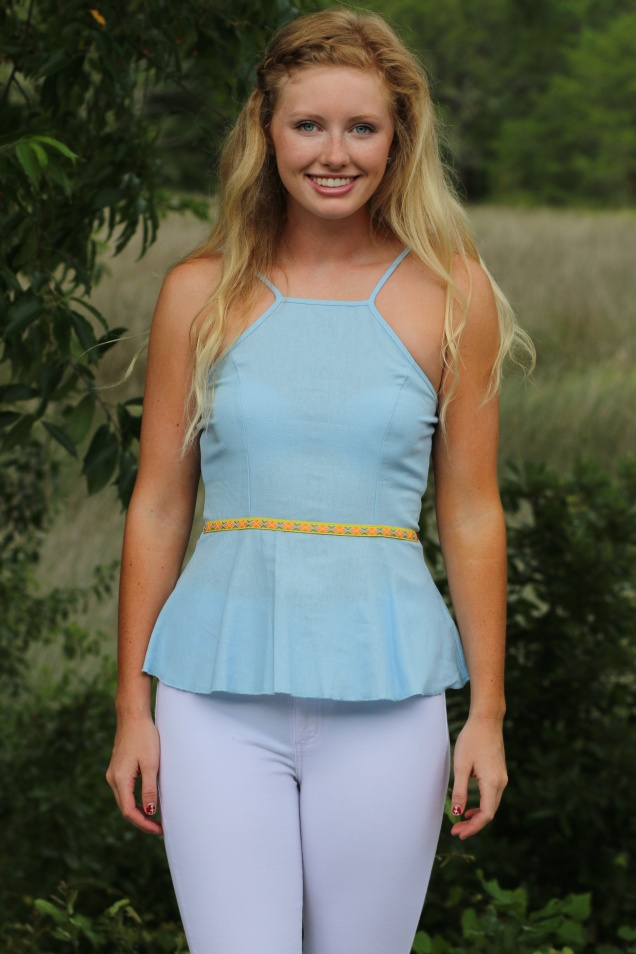 Wild Souls - Baby Blue Linen Peplum Top with Neon Ribbon - shopwildsouls.com