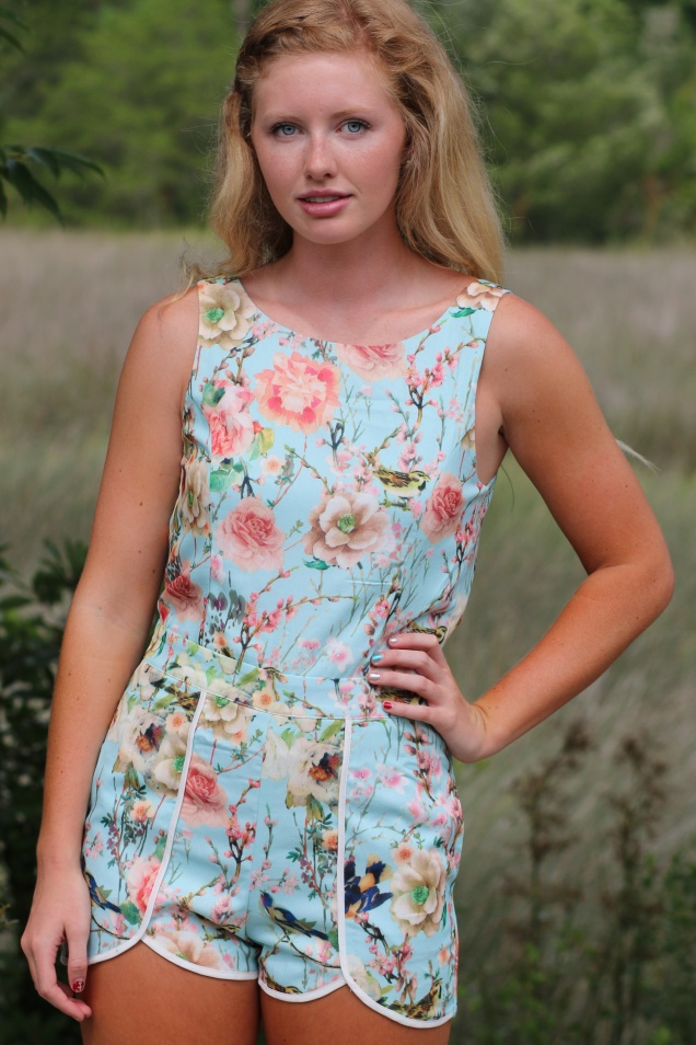 Wild Souls - Baby Blue Bird and Flower Print Romper - shopwildsouls.com