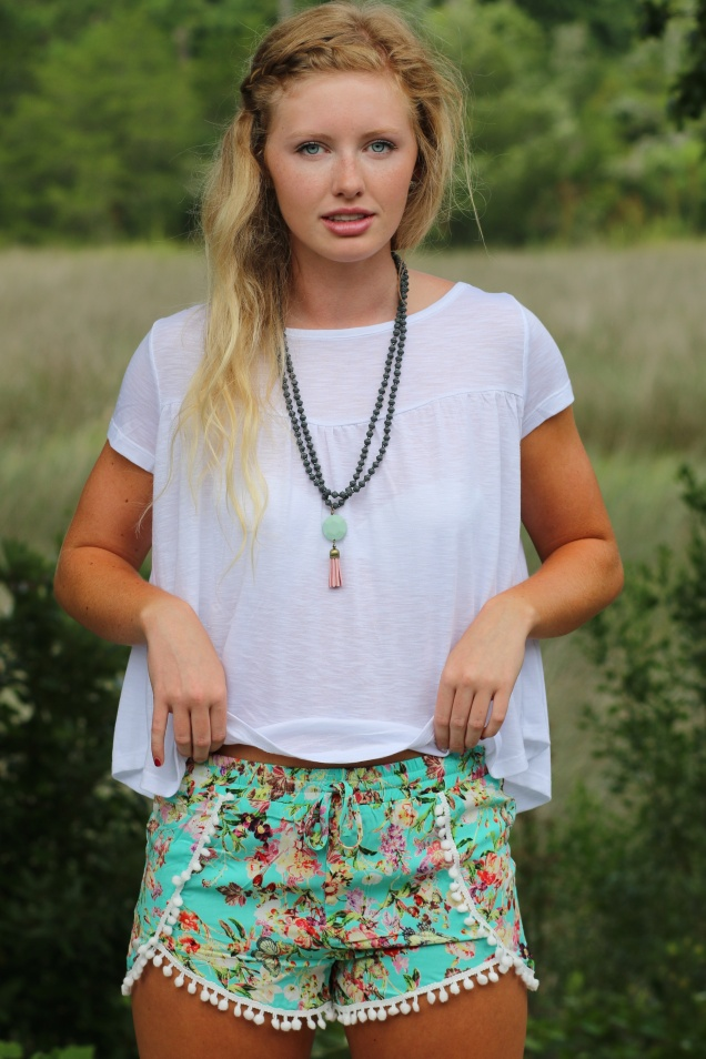 Wild Souls - Babydoll Tee in White with Floral Pom Pom Shorts in mint - shopwildsouls.com