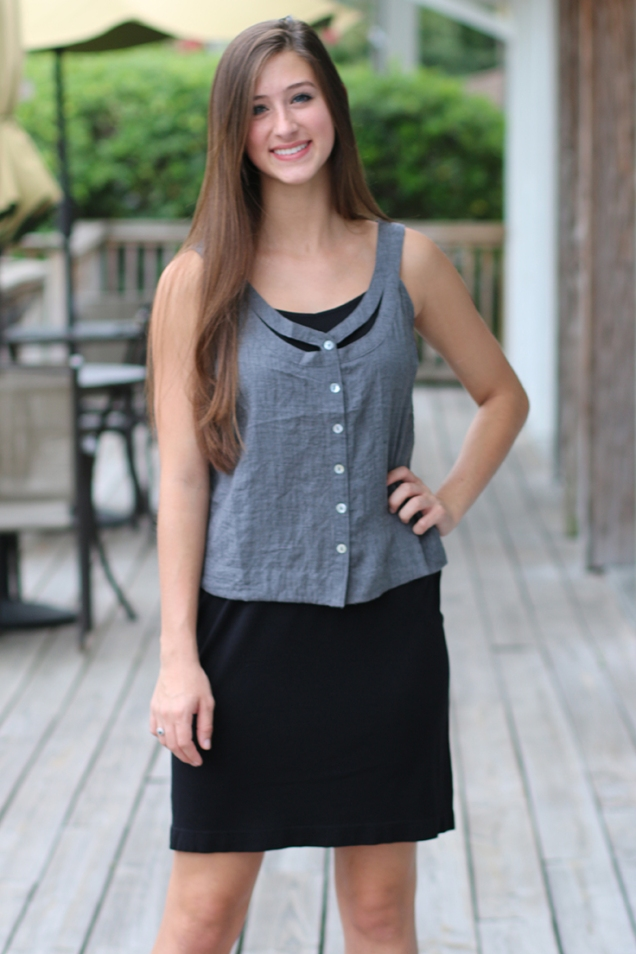 Black Slip Dress Layered Under Denim Chambray Top at Wild Souls