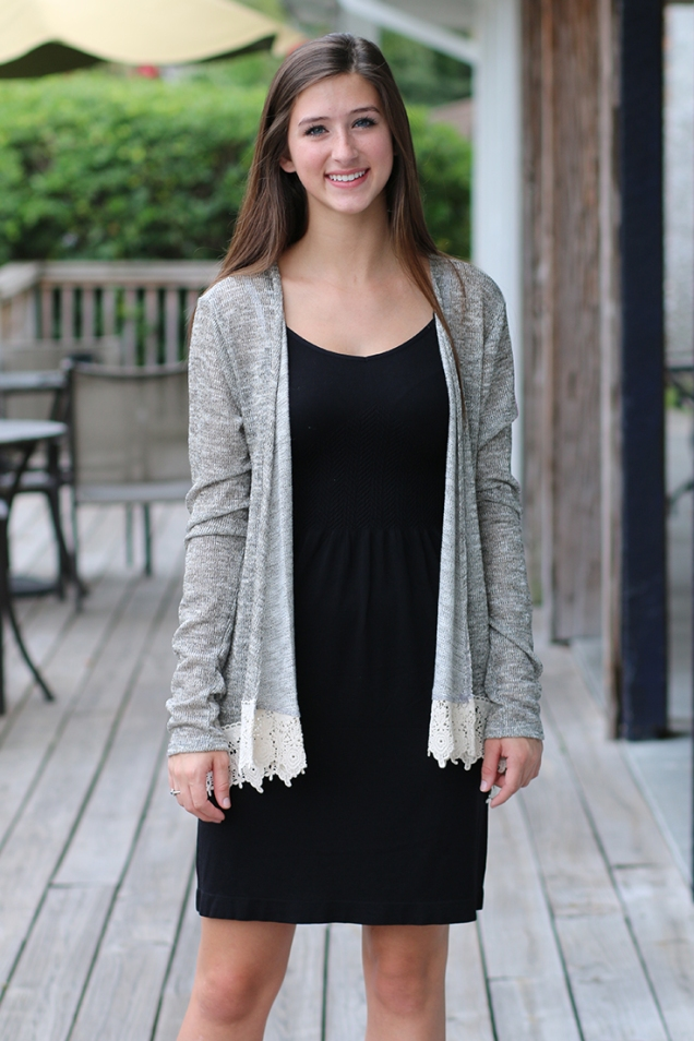 Black Slip Dress Layered Under Metallic Gold and Heather Grey Cardigan with Crochet @ Wild Souls