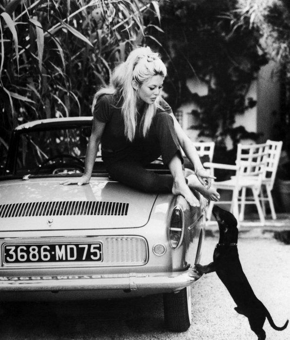 Brigitte Bardot with her dog