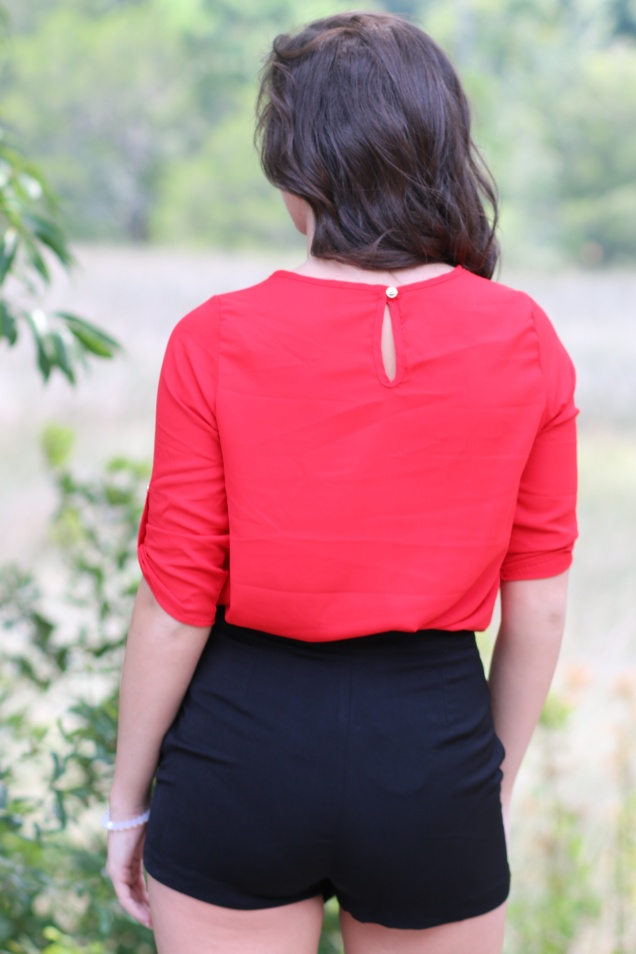 Wild Souls - Red Chiffon Blouse and Black Envelope Skort - shopwildsouls.com