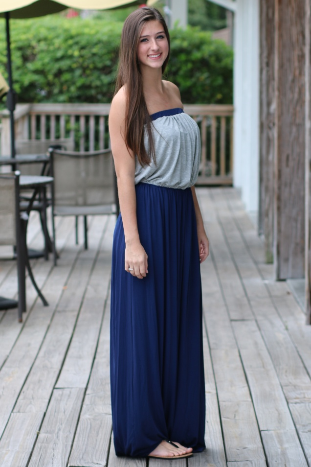 Wild Souls - heather grey and navy color blocked jersey maxi dress - www.shopwildsouls.com