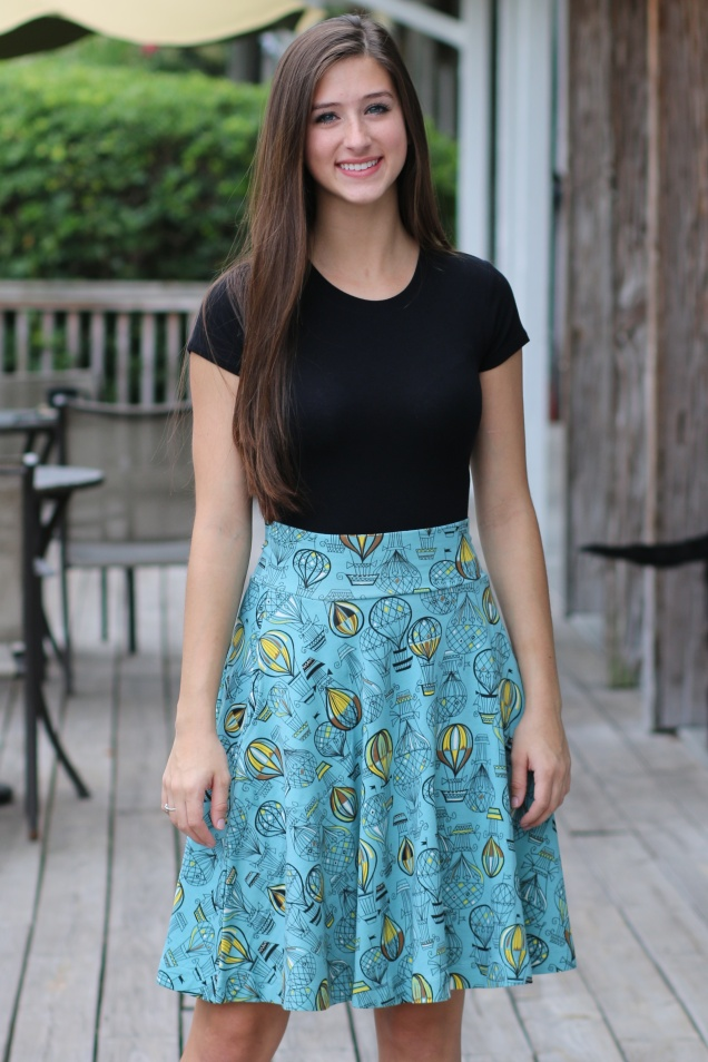 Wild Souls - Effie's Heart Teal Carnaby Skirt - Hot Air Balloon Print with Pockets - www.shopwildsouls.com