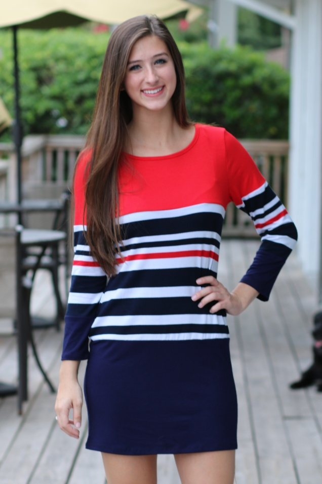 Wild Souls - Navy & Red Striped Tunic Dress - www.shopwildsouls.com