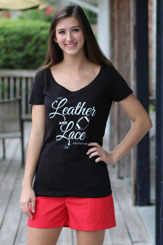 Wild Souls - Girly Fit Leather and Lace Football Tee