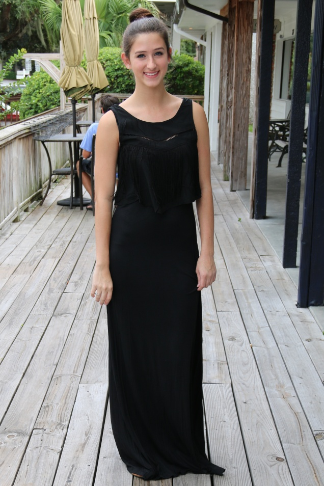 Black Jersey Maxi Dress with Fringe at Wild Souls