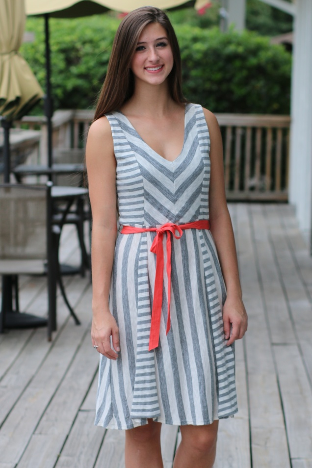 Heather Grey and Cream Striped Dress with Coral Ribbon Belt