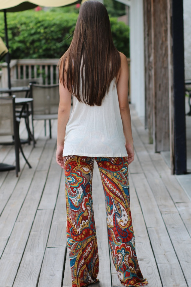 Ivory Hi Low Wrap Tank and Fall Color Palazzo Pants