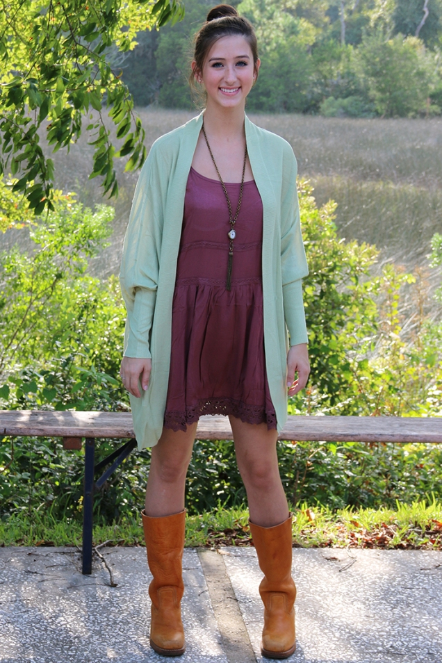 Rose Festival Slipdress with Crochet + Sage Green Dolman Sweater Knit Cardigan + Frye Campus Boots