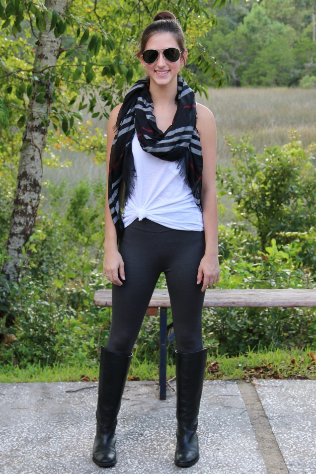 Wild Souls - Black Plaid Scarf with Pixie Pants, Knotted Pocket Tank, and Riding Boots