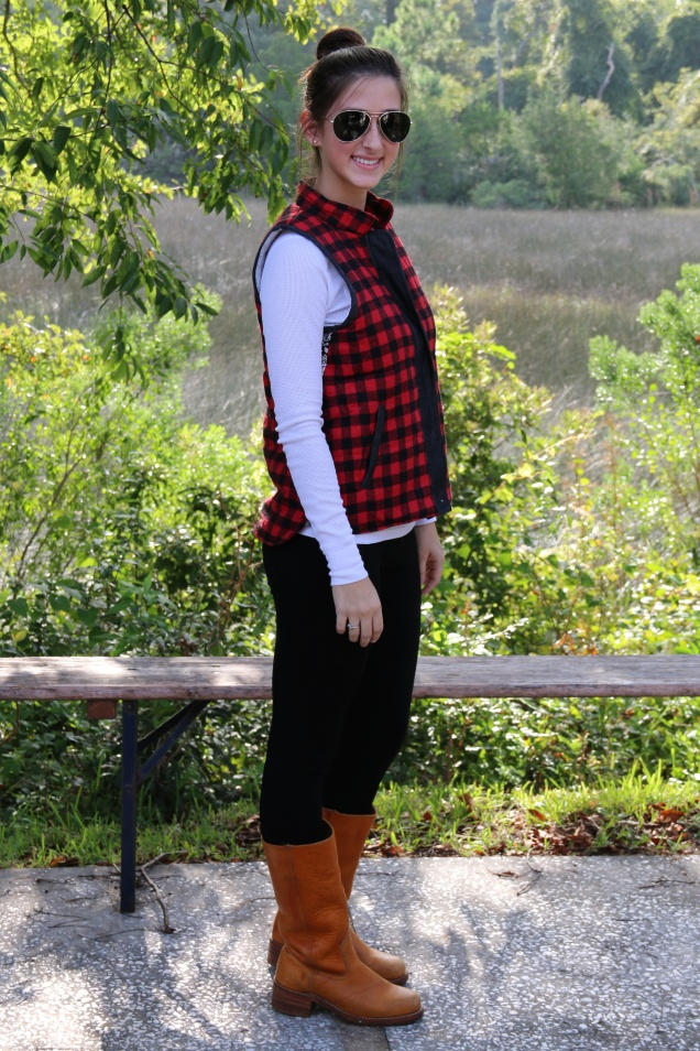 OOTD Wild Souls Red and Black Buffalo Plaid Flannel Puffer Vest, White Thermal Tee, Deneuve Pixie Pants in Black, Sunrise Frye Campus Boots, and Triple Graces Aviator Sunglasses
