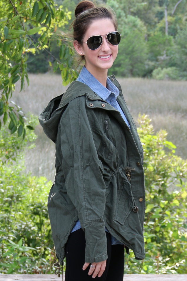 Wild Souls OOTD Olive Boyfriend Jacket, Chambray Denim Button Down Shirt, Black Pixie Pants, Sunrise Frye Campus Boots, and Triple Graces Aviators