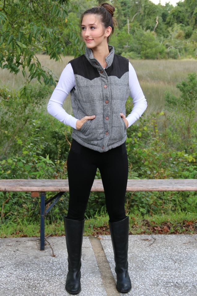 Wild Souls OOTD Charcoal Puffer Vest, White Thermal Tee, Black Pixie Pants, and Banana Republic Black Riding Boots