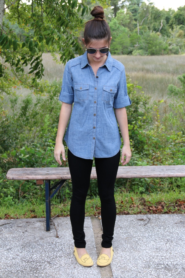 Wild Souls OOTD: Chambray Denim Button Down Collared Shirt, Black Pixie Pants, and Yellow Hello Sunshine Loly in the Sky Flats