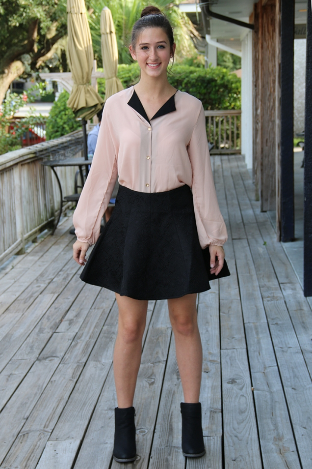 My Notorious Life by Kate Manning inspired look Black Brocade Skater Skirt and Peach Chiffon Blouse