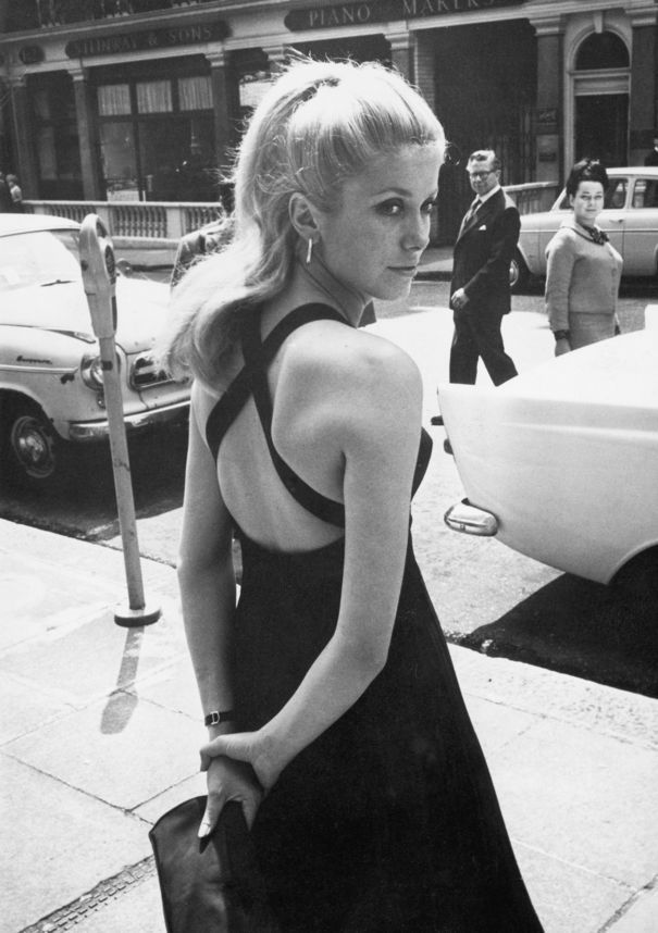 Catherine Deneuve Street Style in Cross Back Little Back Dress
