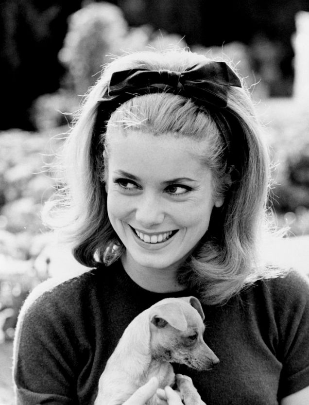 Catherine Deneuve with puppy and Bow Headband