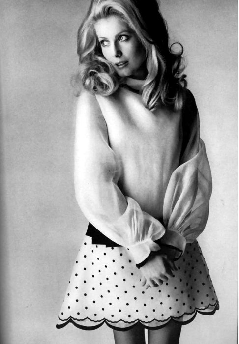 Catherine Deneuve in Parisian Preppy Polka Dots