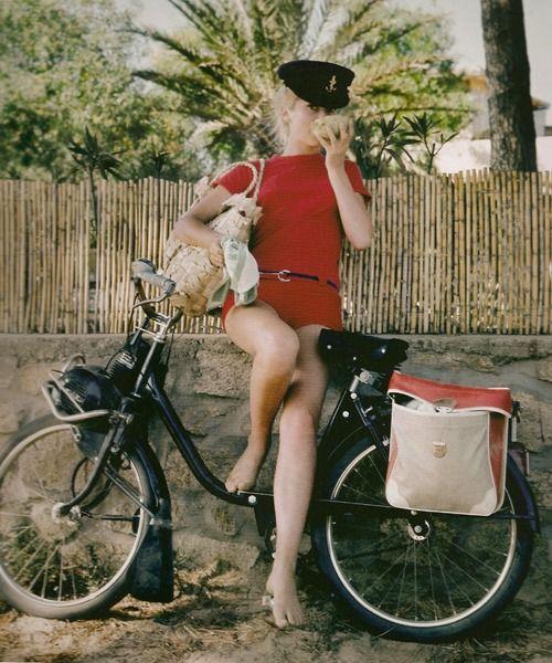 Catherine Deneuve in Red Romper on Bicycle in St. Tropez 1965