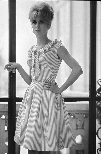 Catherine Deneuve Striped Dress with Ruffle Collar