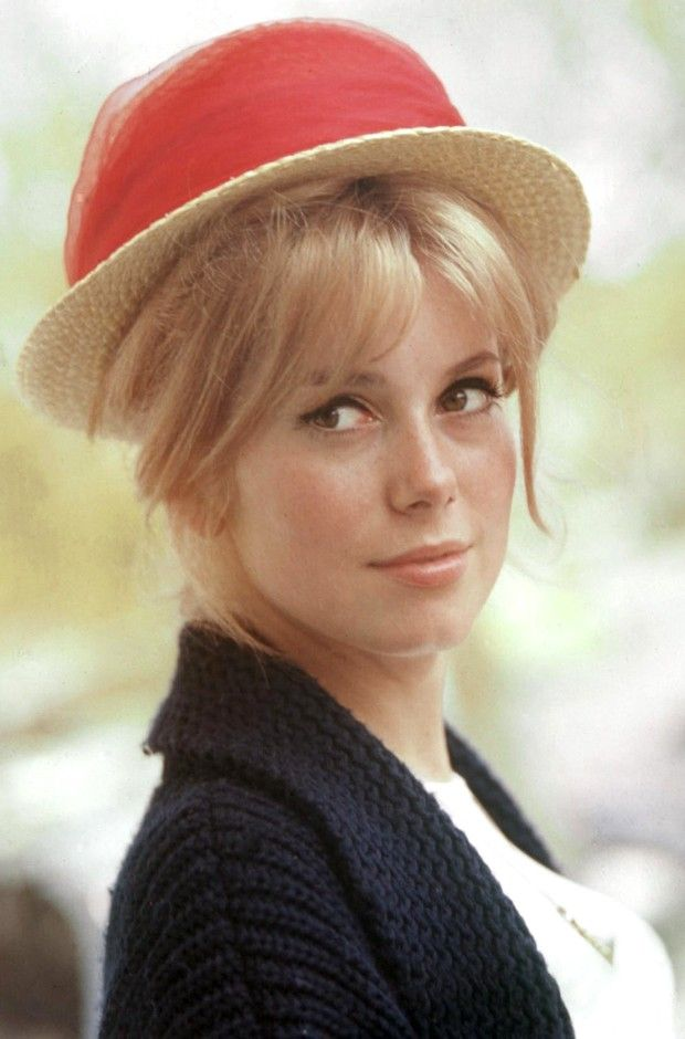 Catherine Deneuve in Straw Hat with Red Sash