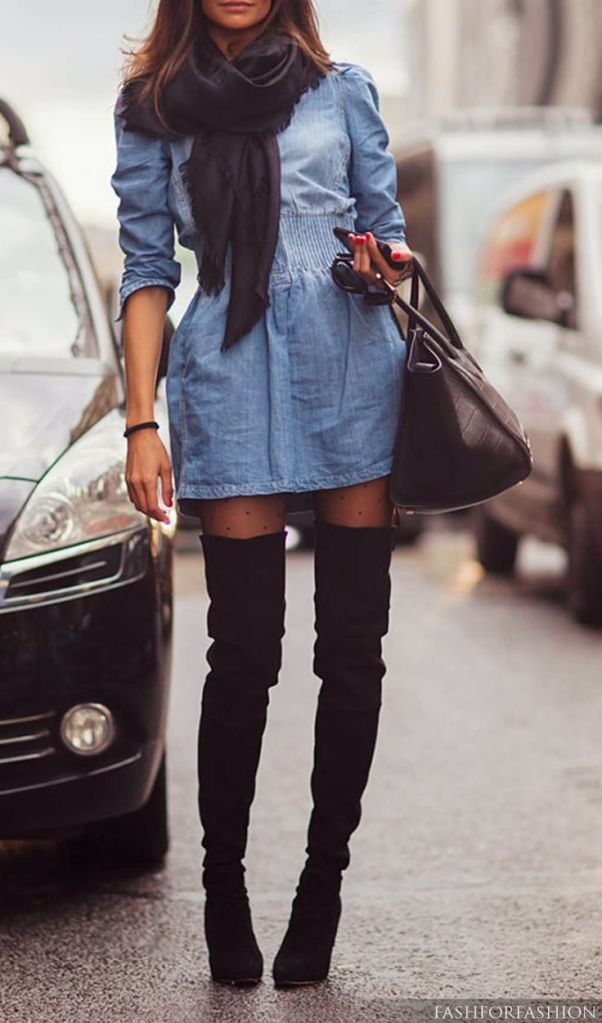 Wild Souls Fall Fashion Denim Dress with Scarf and Boots