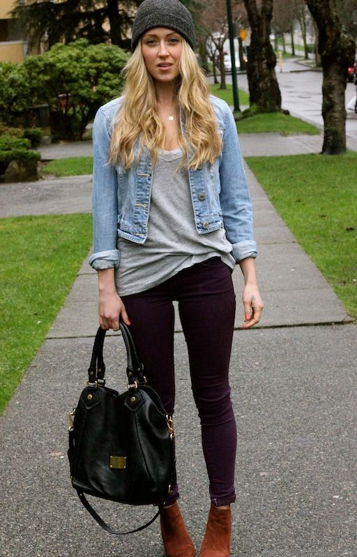 Wild Souls Fall Fashion Denim Jacket, Knotted Tank, Knit Beanie, Skinnies, and Ankle Boots