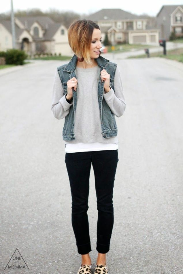 Wild Souls Fall Fashion: Denim Vest with Sweatshirt and Leopard Sneakers