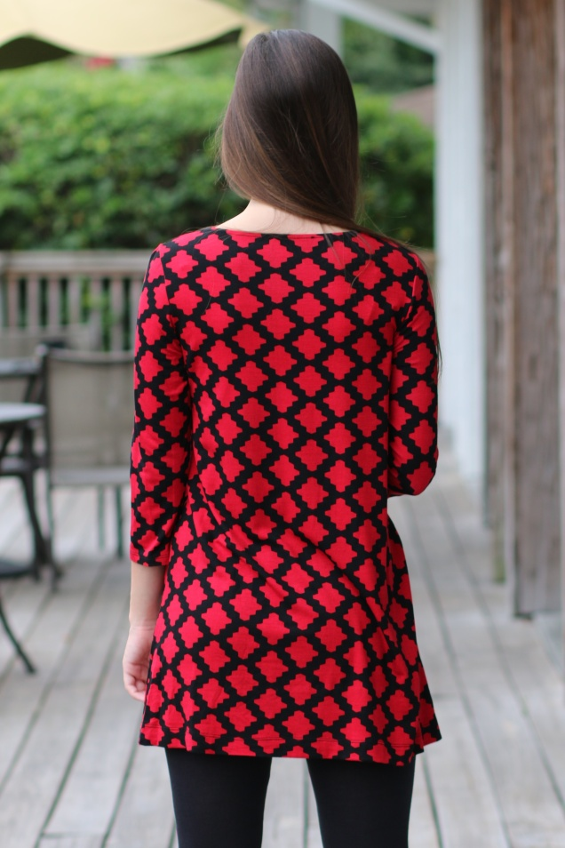 Red and Black Moroccan Tile Print Tunic