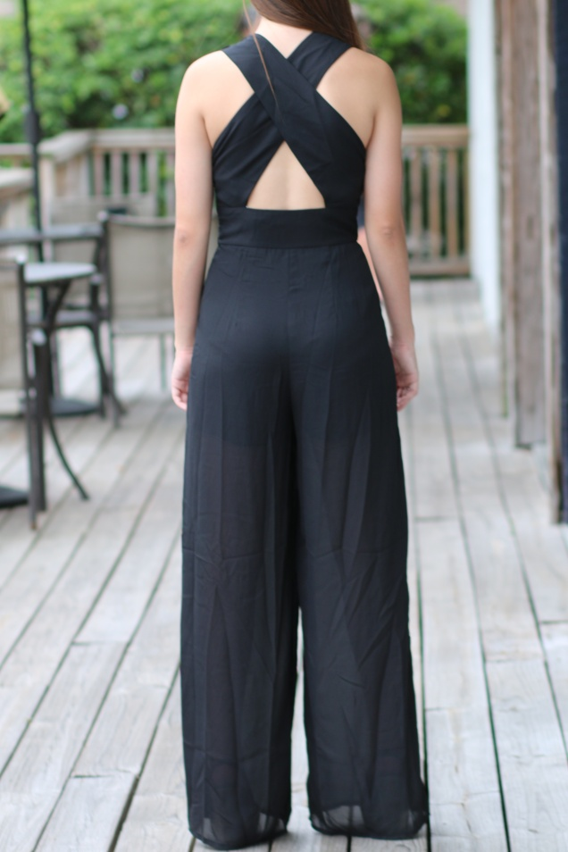 Black Criss Cross Back Jumpsuit with Red Sequin Elbow Patch Cardigan