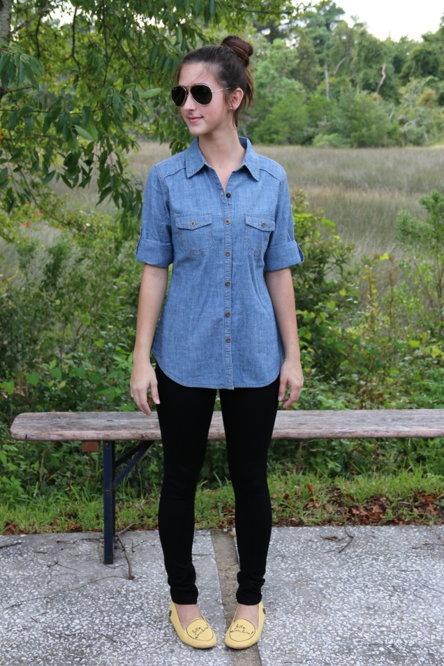Wild Souls Fall Fashion Denim Chambray Shirt, Pixie Pants, and Loly Flats
