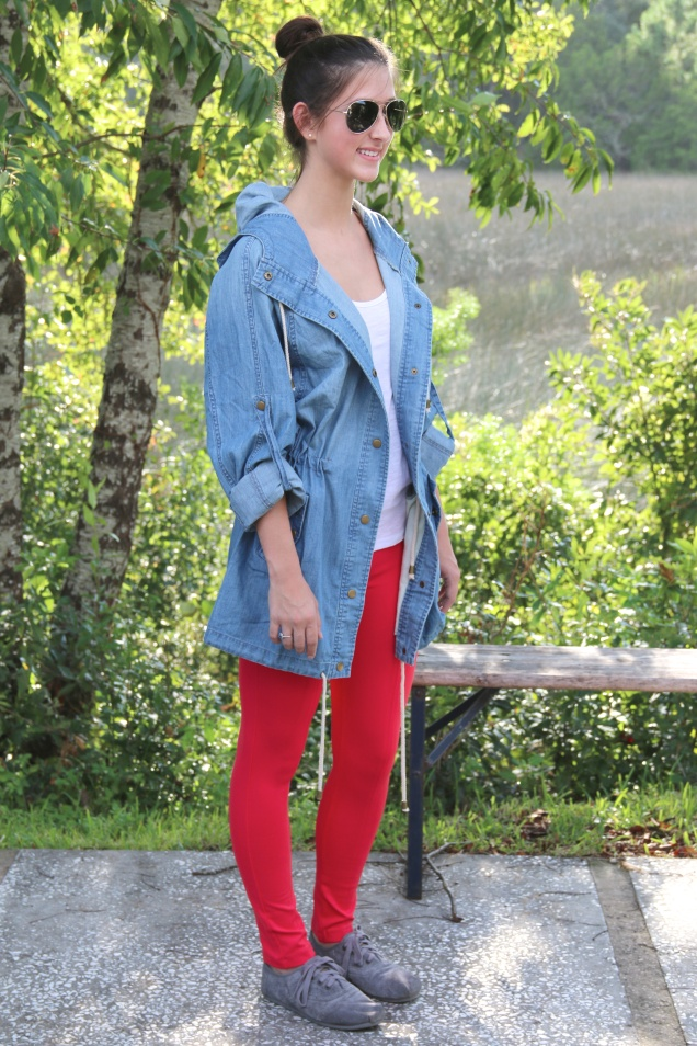 Wild Souls Fall Fashion Denim Boyfriend Jacket, Coral Red Pixie Pants, and Grey TOMS