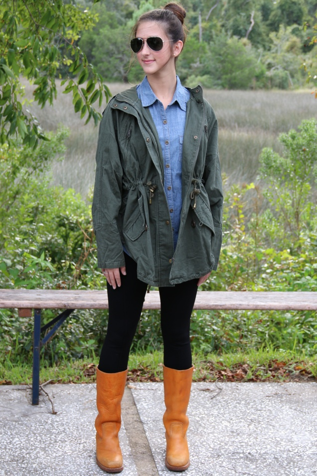 Wild Souls Fall Fashion Denim Chambray Shirt, Pixie Pants, Olive Green Boyfriend Jacket, Frye Boots
