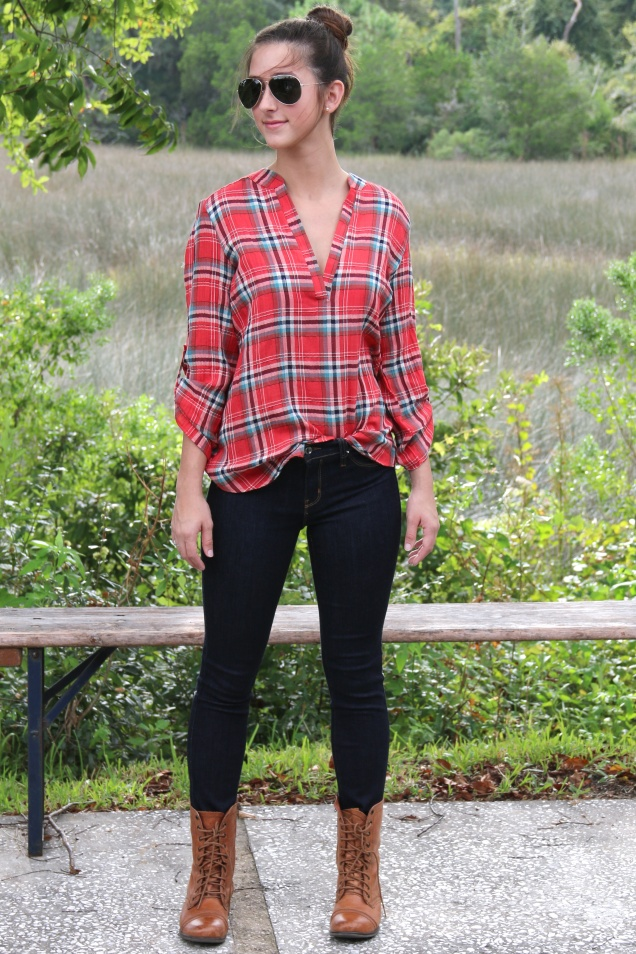 Red Plaid Denim Gauze Cotton Roll Tab Top and Dark Indigo Denim Skinny Jeans