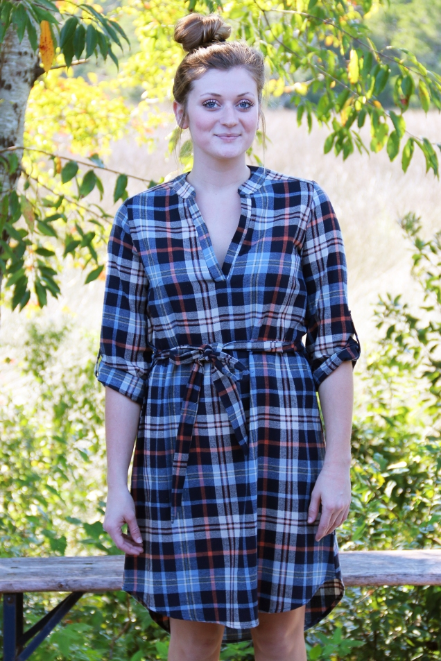 Navy, Blue, and Rust Flannel Plaid Hi-low Dress