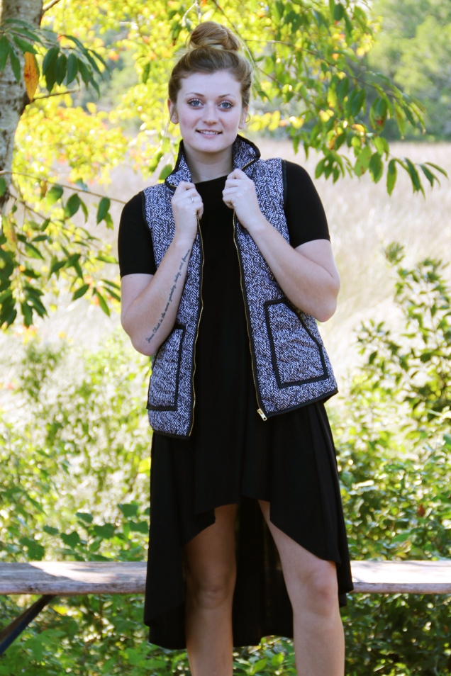 Wild Souls: Herringbone Quilted Puffer Vest + Hi Low Little Black Dress