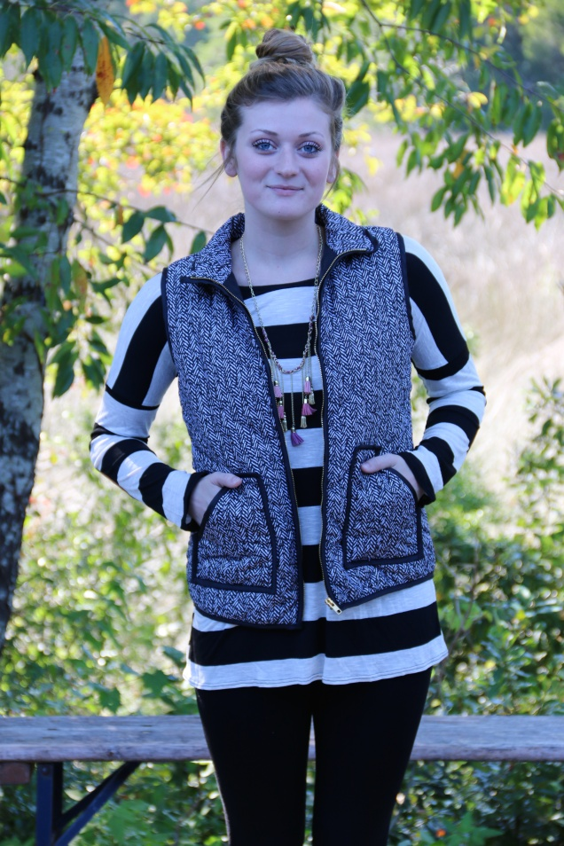 Wild Souls: Black & White Herringbone Quilted Puffer Vest + Black Striped Tunic with Elbow Patches + Black Birkin Pixie Pants