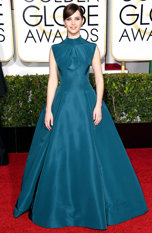 Felicity Jones in Christian Dior at the 2015 Golden Globes
