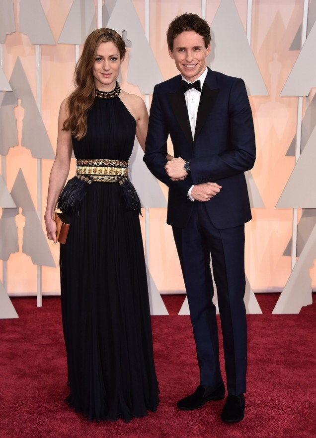 Hannah Bagshawe and Eddie Redmayne in Alexander McQueen at the 87th Annual Academy Awards // 2015 Oscars Red Carpet