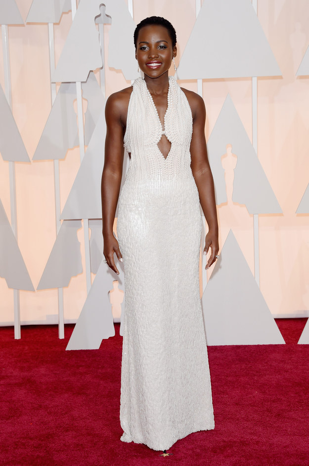 Lupita Nyongo in Custom Calvin Klein Collection at the 87th Annual Academy Awards // 2015 Oscars Red Carpet