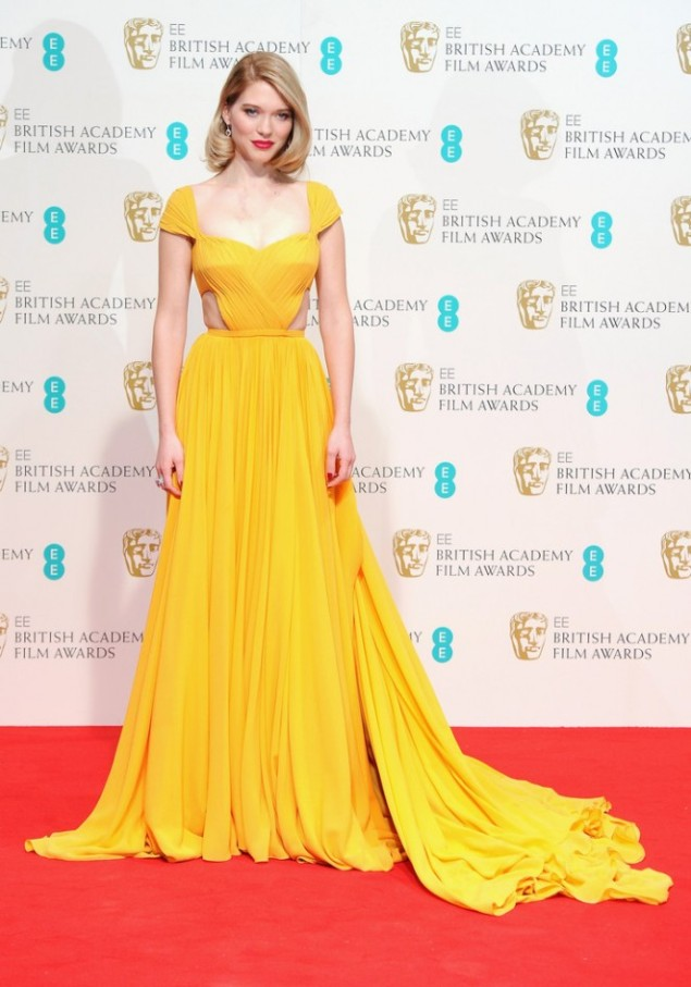 2015 BAFTAs Red Carpet Lea Seydoux in Prada