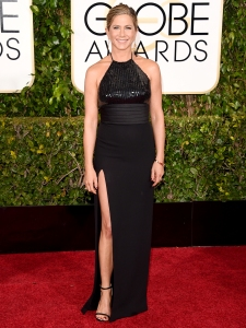 Jennifer Aniston in Saint Lauren at the 2015 Golden Globes
