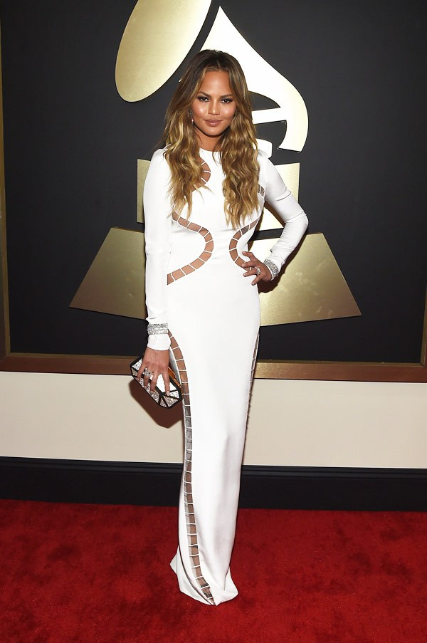 2015 Grammy Awards Red Carpet Chrissy Teigen in Emilio Pucci