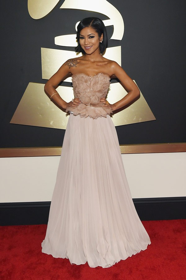 2015 Grammy Awards Red Carpet Jhene Aiko in Alberta Ferretti