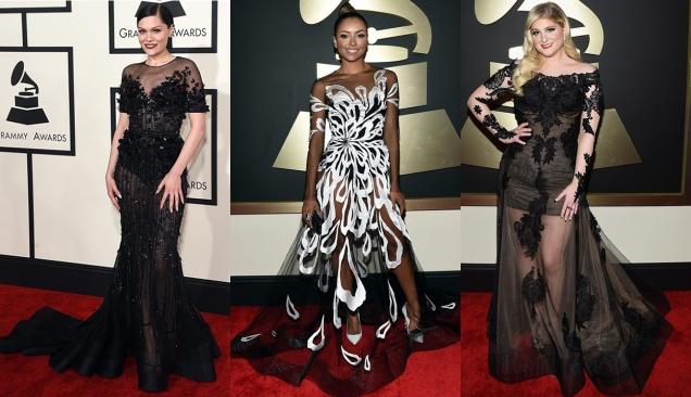 2015 Grammy Awards Red Carpet Jessie J in Ralph Russo, Kat Graham in Yanina Couture, and Meghan Trainor in Galia Lahav